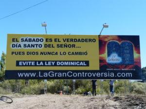 Billboard that proclaims the Sabbath truth in Mendoza.