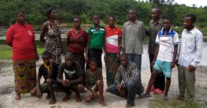Recently baptized new believers in Congo