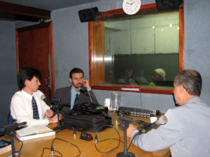 Cody Francis during a live radio interview.