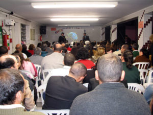 The crowd who came to listen to the gospel meeting advertised on the radio program that day.