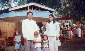 Beniboy with his wife and children.