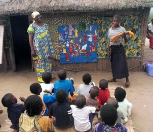 Teaching the orphans with a set of donated felts