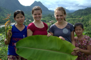 Friends with Sabrina (right center) in Thailand.