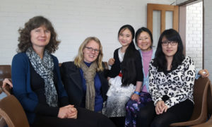 Lorna, Stine and Yvonne (far right) with friends at the Melbourne Asian church
