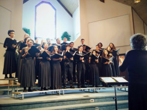 Three Angels' Chorale, of Hartland College, travels many miles to minister to hearts old and young.